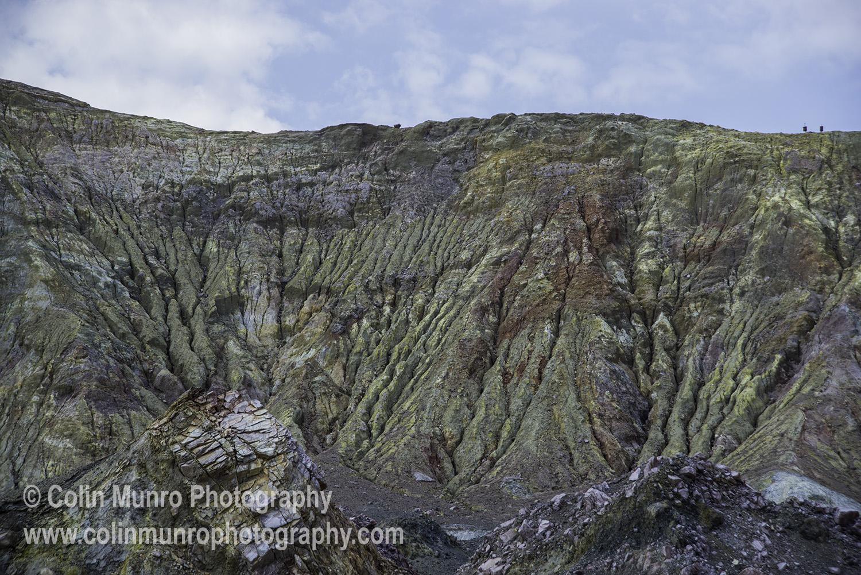 The sulphur-rich crater walls of White Island (Whakaari) stratovolcano